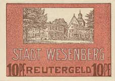 Wesenberg Stadt, 1x10pf, 1x25pf, 1x50pf, Set of 3 Notes, 1410.2