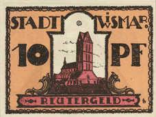 Wismar Stadt, 1x10pf, 1x25pf, 1x50pf, Set of 3 Notes, 1439.1