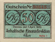 Anhalt Herzogliche bzw Anhaltische Finanzdirektion Dessau, 50 Pfennig, A17.5a