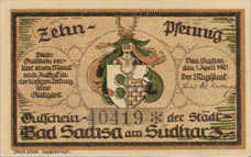 Sachsa, Bad Stadt, 1x10pf, 1x25pf, 1x50pf, 1x75pf, Set of 4 Notes, 1157.2