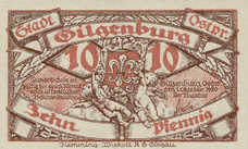 Gilgenburg Stadt, 1x10pf, 1x25pf, 1x50pf, Set of 3 Notes, 429.1a