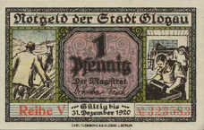Glogau Stadt, 1x1pf, 1x5pf, 1x10pf, 1x25pf, 1x1/2mk, Set of 5 Notes, G20.6
