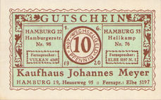Hamburg, Kaufhaus Johannes Meyer, Heussweg 95, 10 Pfennig