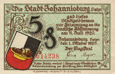 Johannisburg Stadt, 1x5pf, 1x10pf, 1x25pf, 1x50pf, Set of 4 Notes, 662.1a