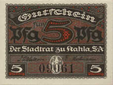 Kahla Stadt, 1x5pf, 1x10pf, 1x50pf, Set of 3 Notes, K1.7