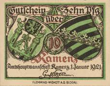 Kamenz Bezirksverband der Amtshauptmannschaft, 1x10pf, 1x50pf, Set of 2 Notes, K5.4a