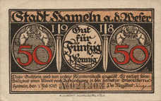 Hameln Stadt, 2x50pf, Set of 2 Notes, H8.1