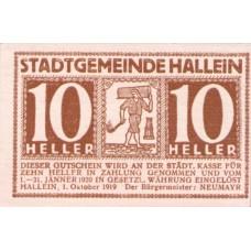 Hallein Sbg. Stadtgemeinde, 1x10h, 1x20h, 1x50h, Set of 3 Notes, FS 344Ia