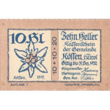 Kössen Tirol Gemeinde, 1x10h, 1x30h, 1x50h, 1x60h, 1x75h, 1x90h, Set of 6 Notes, FS 468a