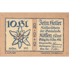 Kössen Tirol Gemeinde, 1x10h, 1x30h, 1x50h, 1x60h, 1x75h, 1x90h, Set of 6 Notes, FS 468b