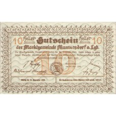 Mannersdorf N.Ö. Marktgemeinde, 1x10h, 1x20h, 1x50h, Set of 3 Notes, FS 577a