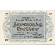 Münster Tirol Gemeinde, 1x10h, 1x20h, 1x50h, Set of 3 Notes, FS 635a