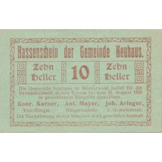 Neuhaus N.Ö. Gemeinde, 1x10h, 1x20h, 1x50h, Set of 3 Notes, FS 646a
