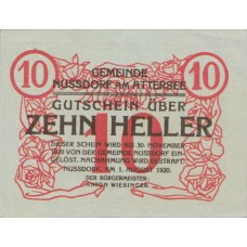 Nussdorf am Attersee O.Ö. Gemeinde, 1x10h, 1x20h, 1x50h, Set of 3 Notes, FS 677a
