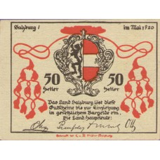 Salzburg Sbg. Land, 1x10h, 1x20h, 1x50h, Set of 3 Notes, FS 860II