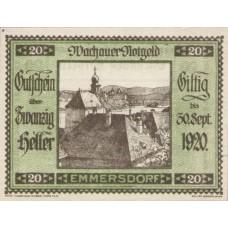 Wachauer Notgeld Emmersdorf N.Ö. Gemeinde, 1x10h, 1x20h, 1x50h, Set of 3 Notes, FS 1122.5IIa
