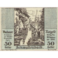 Wachauer Notgeld Schwallenbach N.Ö. Gemeinde, 1x10h, 1x20h, 1x50h, Set of 3 Notes, FS 1122.8IIa