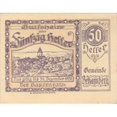 Behamberg Prv: Bauernrat Der Gemeinde Behamberg, 1x10h, 1x20h, 1x50h, Set of 3 Notes, FS 80a
