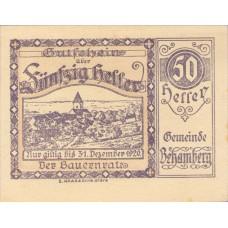 Behamberg Prv: Bauernrat Der Gemeinde Behamberg, 1x10h, 1x20h, 1x50h, Set of 3 Notes, FS 80a