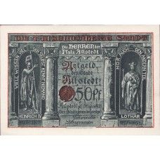 Allstedt Stadt, 1x10pf, 1x25pf, 6x50pf, Set of 8 Notes, 15.1