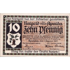 Apolda Stadt, 2x10pf, Set of 2 Notes, 36.1