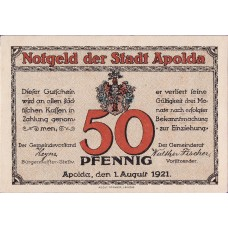 Apolda Stadt, 6x50pf, Set of 6 Notes, 36.3b