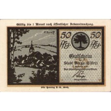 Berga a.d. Elster Stadt, 1x25pf, 2x50pf, 1x75pf, Set of 4 Notes, 77.1