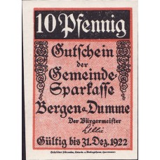 Bergen a.d. Dumme Germeinde, 1x5pf, 1x10pf, 1x25pf, 1x50pf, Set of 4 Notes, 78.1