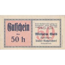 Unter-Ratzersdorf N.Ö. Prv. Wilhem Gelb Kaufmann, 50 Heller, FS 1097a