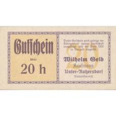 Unter-Ratzersdorf N.Ö. Prv. Wilhem Gelb Kaufmann, 20 Heller, FS 1097b