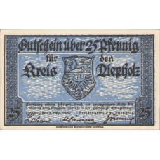 Diepholz Kreis, 1x10pf, 1x25pf, 1x50pf, Set of 3 Notes, 273.2