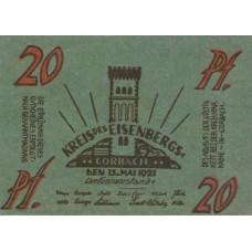 Eisenberg Kreis Sitz in Corbach, 1x20pf, 1x50pf, Set of 2 Notes, 321.1a