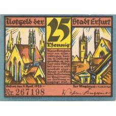 Erfurt Stadt, 1x10pf, 1x20pf, 1x25pf, Set of 3 Notes, SN Type 1, 344.6