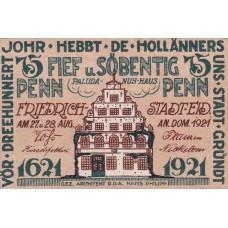 Friedrichstadt Stadt, 1x25pf, 1x50pf, 1x75pf, Set of 3 Notes, 395.1