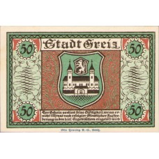Greiz Stadt, 1x25pf, 1x50pf, 1x75pf, 1x90pf, Set of 4 Notes, 471.2