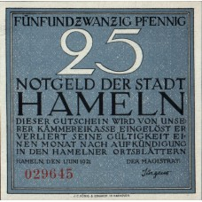 Hameln Stadt, 1x25pf, 1x50pf, 1x75pf, 1x1mk, Set of 4 Notes, 566.1a