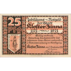 Kloster Zinna Stadt, 1x25pf, 1x50pf, Set of 2 Notes, 708.1