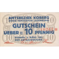 Koberg Amtsbezirk, 1x10pf, 1x20pf, 1x25pf, 1x50pf, Set of 4 Notes, 713.1a