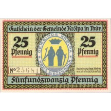 Krölpa Gemeinde, 1x25pf, 1x50pf, Set of 2 Notes, 745.1