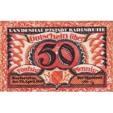 Karlsruhe Stadt, 1x50pf, Set of 1 Note, K10.1