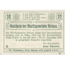 Riedau O.Ö. Marktgemeinde, 1x10h, 1x20h, 1x50h, Set of 3 Notes, FS 837II