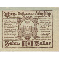 Schörfling am Attersee O.Ö. Marktgemeinde, 1x10h, 1x20h, 1x50h, Set of 3 Notes, FS 971a