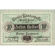 Tiroler Landeskasse Tirol Land, 1x10h, 1x20h, 1x50h, Set of 3 Notes, FS 1073II