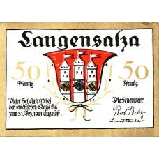 Langensalza Freiwillige Turner Feuerwehr, 2x50pf, Set of 2 Notes, 769.1a