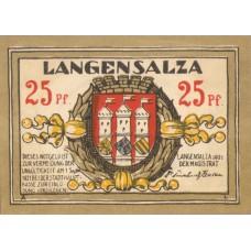 Langensalza Stadt, 6x25pf, Set of 6 Notes, 770.1a