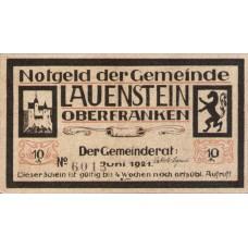 Lauenstein Gemeinde, 1x10pf, 1x25pf, Set of 2 Notes, 775.1