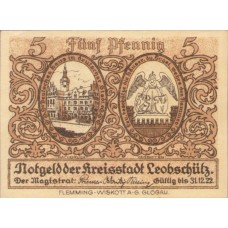Leobschütz Stadt, 5 Pfennig, 793.1F Error Note