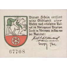 Lorch Stadt, 1x10pf, 1x25pf, Set of 2 Notes, 815.1
