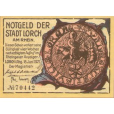Lorch Stadt, 1x25pf, Set of 1 Note, 815.3a