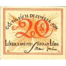 Lübeck Stadtkasse, 5x20pf, Set of 5 Notes, 831.1a